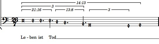 The original, complex notation for Haddad's motets