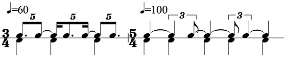 Two ways of feeling a 5:3 polyrhythm