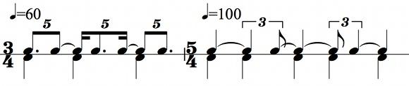 Two ways of feeling a 5:3 polyrhythm