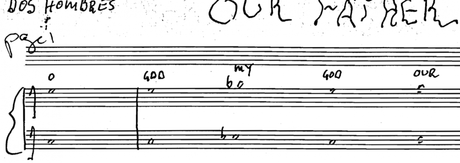 The first notes of the score of Julius Eastman's Our Father